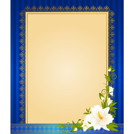 Flowers with lace ornaments on background. Vector Vector