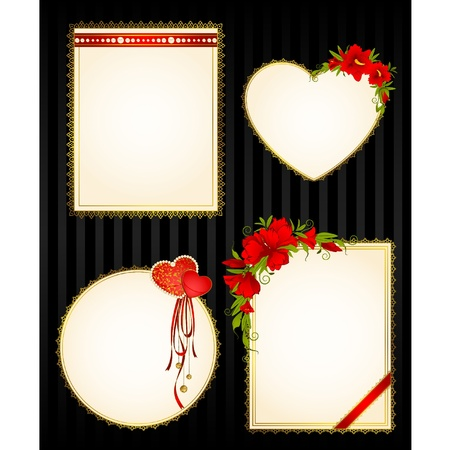 Beautiful frames with lace ornaments and flowers Vector