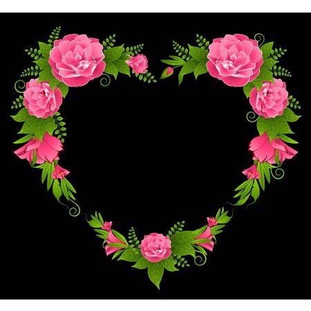 dresser: Roses on the black background Illustration