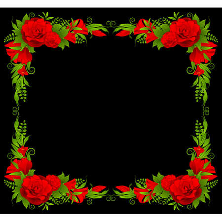 cartoon bouquet: Roses on the black background Illustration