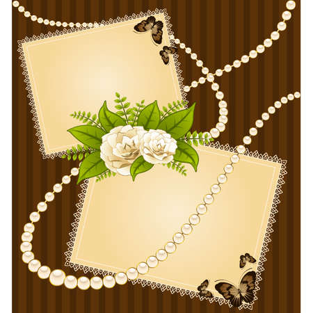Roses with lace ornaments on background. Vector