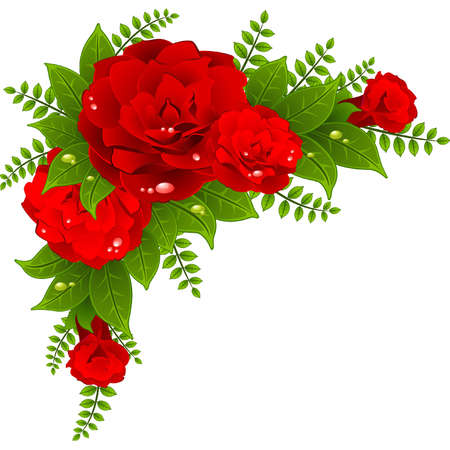 cartoon bouquet: Red roses on the white background Illustration