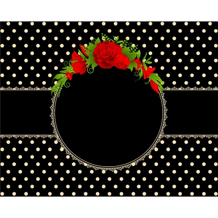 Roses with lace ornaments on background. Stock Vector - 9655480