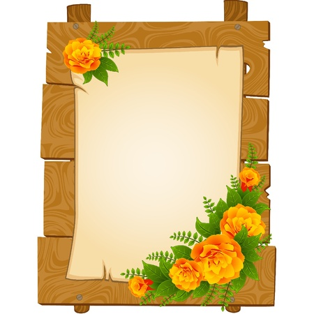 rose tree: beautiful wooden pointers with flowers are isolated on the white