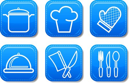 Food icon buttons glossy set Stock Photo - 9714683