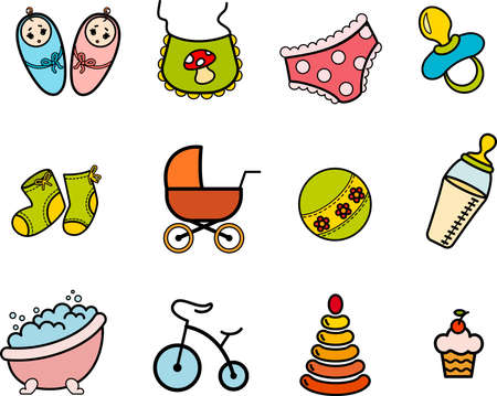 Beautiful glossy buttons - Baby icons Stock Photo - 9832624