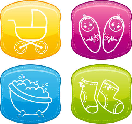 Beautiful glossy buttons - Baby icons. Stock Photo - 9832630