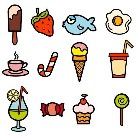 fisch eis: Essen Farbe Symbolsatz Illustration