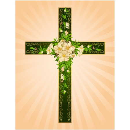 christian faith: Golden cross with flowers - symbol of the Christian faith