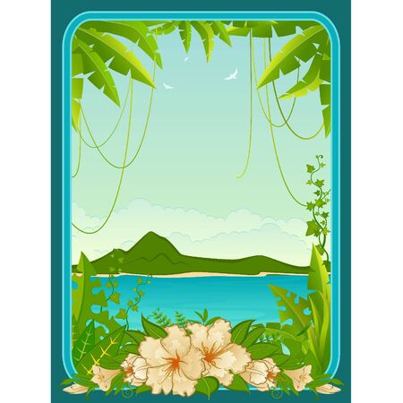 Small Island with tropical palms and flowers Illustration