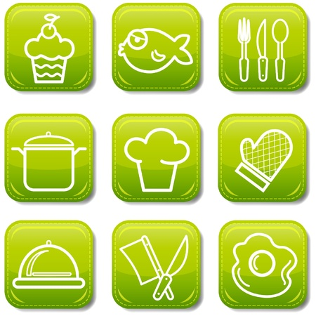 Food icon buttons glossy set Stock Vector - 9780060