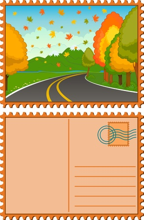 The autumn landscape with an asphalt road.  Stock Photo - 9832665