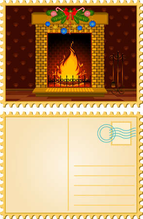 Cartoon stone fire-place with a christmas decorations. Stock Photo - 9832668