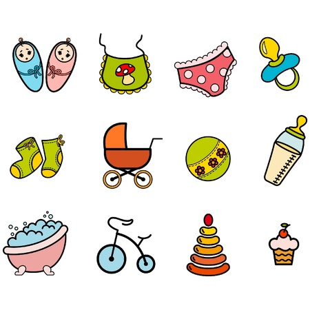 stuffs: Vector beautiful baby icons