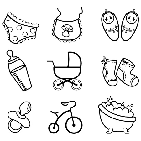 Vector beautiful baby icons Vector