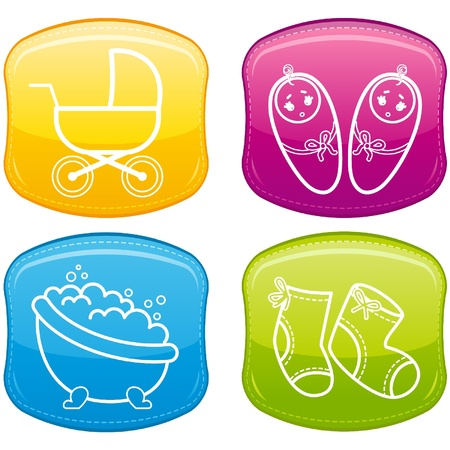 Beautiful glossy buttons - Baby icons. Vector Ilustração