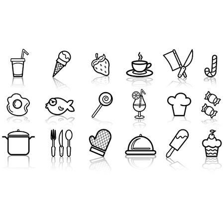 Voedsel pictogram glanzende knoppen instellen