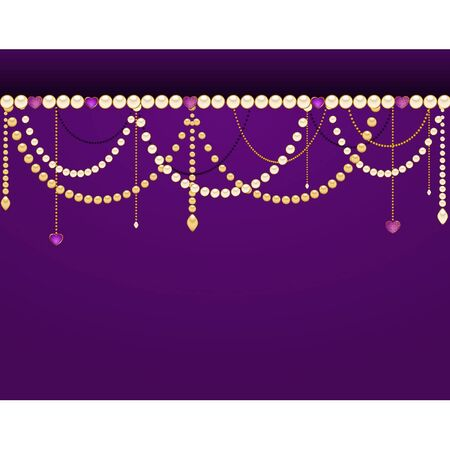Beautiful background with lace ornaments and beads Vector