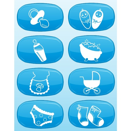 Beautiful glossy buttons - Baby icons. Vector Stock Vector - 9832652