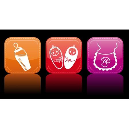 Beautiful glossy buttons - Baby icons. Stock Vector - 9832635