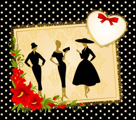 Vintage silhouette of girls on black background. photo