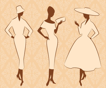 Vintage silhouette of girl in hat photo