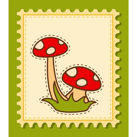 Beautiful background with fly-agaric Vector
