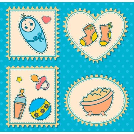 babero: Hermoso fondo con iconos de beb�