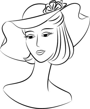 Vintage Silhouette des Mädchens in Hut.