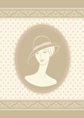 Vintage silhouette of girl in hat. photo