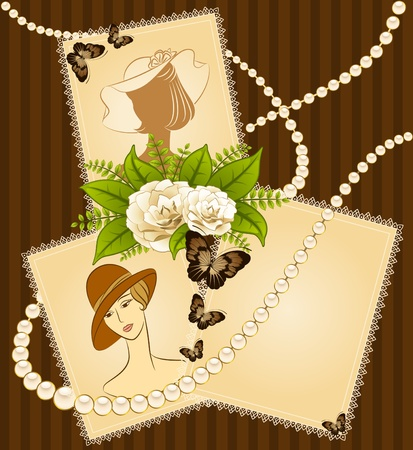 Vintage fashion background with flowers and girls. photo