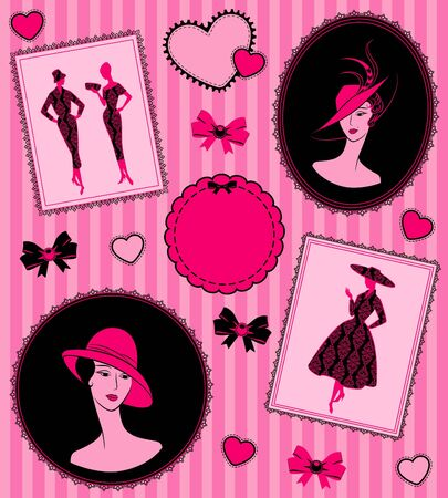 Vintage background with silhouette of girl in hat.  photo