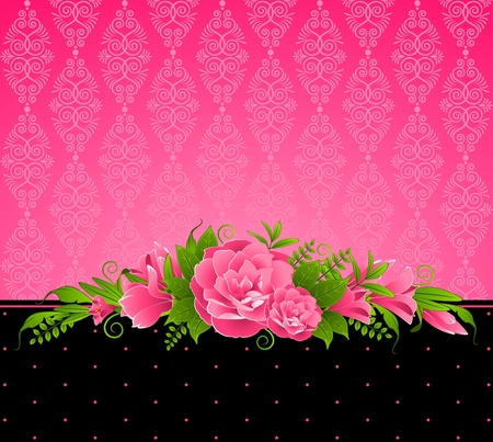 Vintage background with pink flowers.  photo