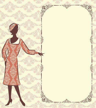 tapestry: Vintage silhouette of girl on tapestry background.