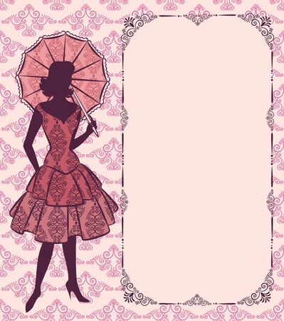 Vintage silhouette of girl with umbrella on tapestry background. Stock Photo - 10317464
