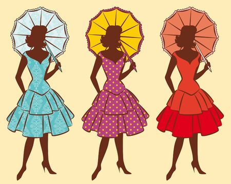 Vintage silhouette of girls with umbrella. Stock Photo - 10317453