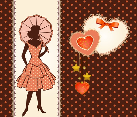 Vintage silhouette of girl with umbrella.  photo