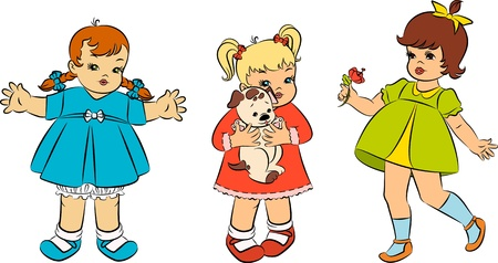 Vintage cartoon little girls. photo