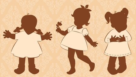Vintage silhouette of little girls on the ornate background photo