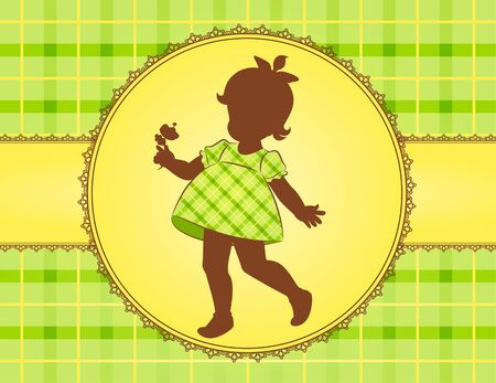 Vintage silhouettes of little girl in dress. photo