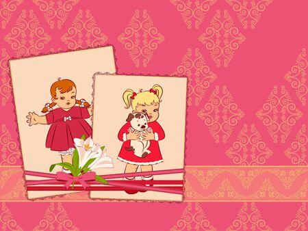 Vintage cartoon little girls on the ornate background. photo