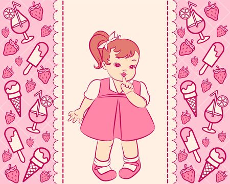 Vintage cartoon little girl in dress with a sweetness photo