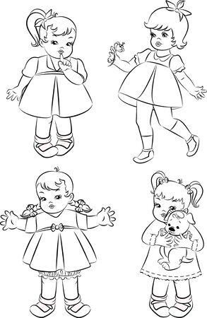 Vintage cartoon little girl. Stock Photo - 10317160