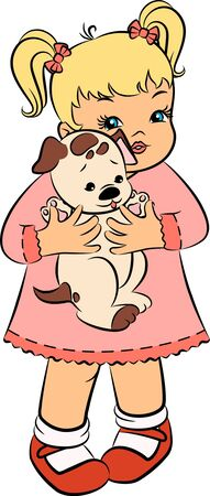Vintage cartoon little girl with puppy.  photo