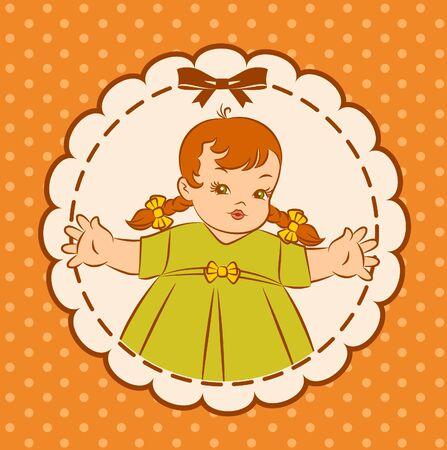 Vintage cartoon little girl. photo
