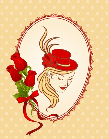 Vintage background with silhouette of girl in hat and flowers. photo