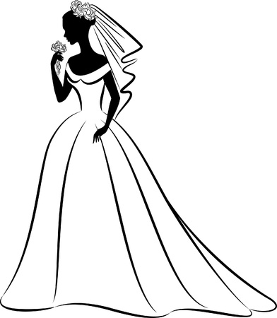 veil:  beautiful bride in dress