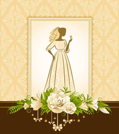 Vintage silhouette of beautiful bride in dress photo