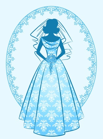 Vintage silhouette of beautiful bride in dress.  photo