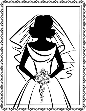 matrimony: Vintage silhouette of beautiful bride in dress.